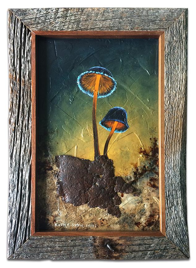Mushrooms with metal in frame