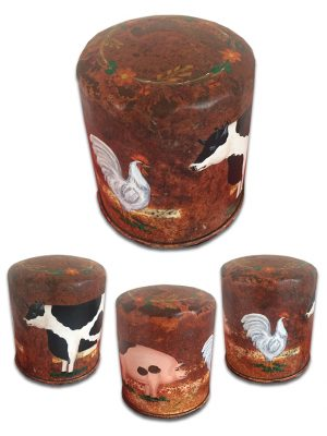 Old oil filter with vintage farm animals