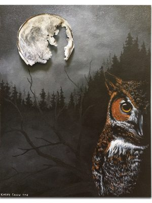 """Rusted lid for moon with night owl scene - 14"""" x 18"""" x 1"""""""