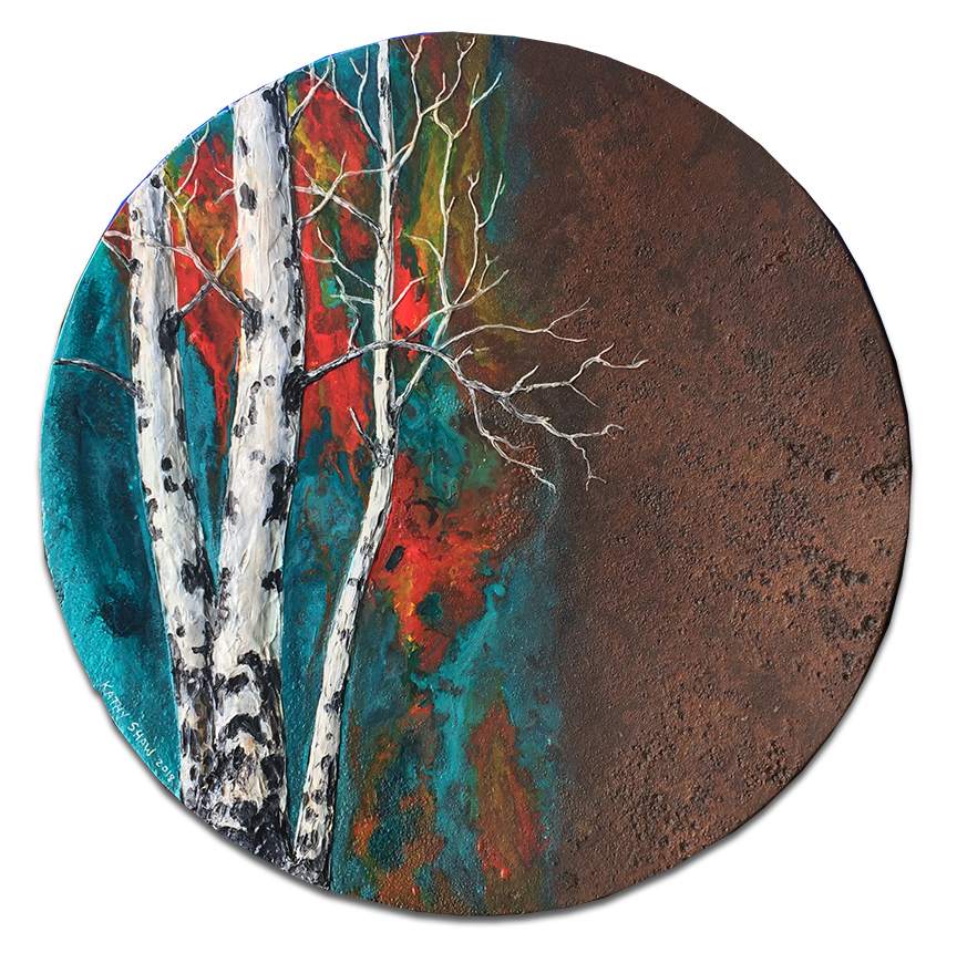 """13"""" rusted plow disk with aspens -"""