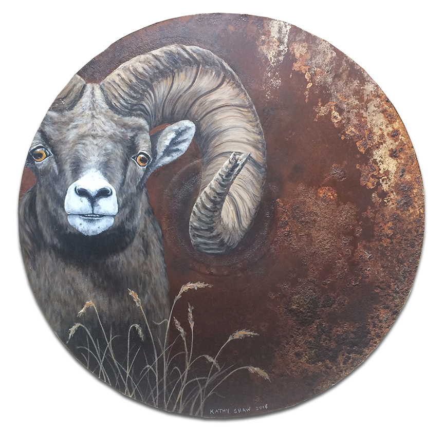 """20"""" rusted plow disk with bighorn sheep"""