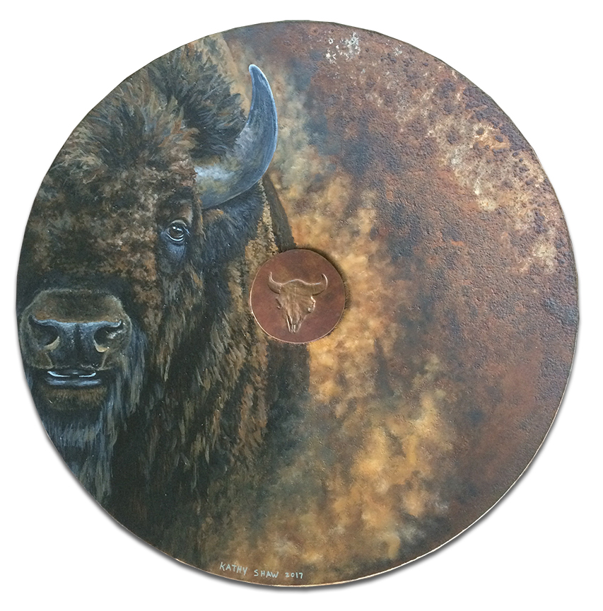 """19"""" rusted plow disk with buffalo"""