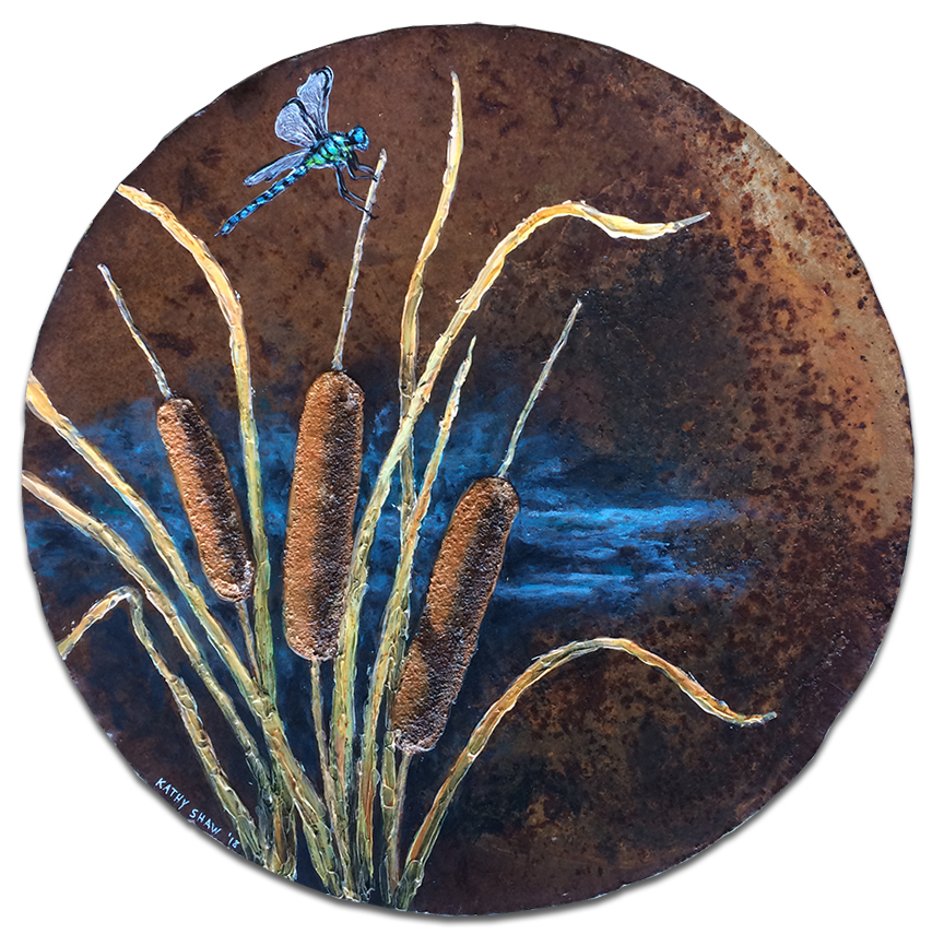"""15.5"""" rusty plow disk with textured cattails and dragonfly"""