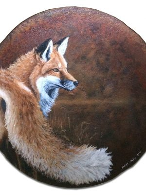 """19"""" rusted plow disk with fox"""