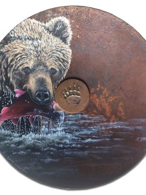 """19"""" rusted plow disk with grizzly and salmon"""