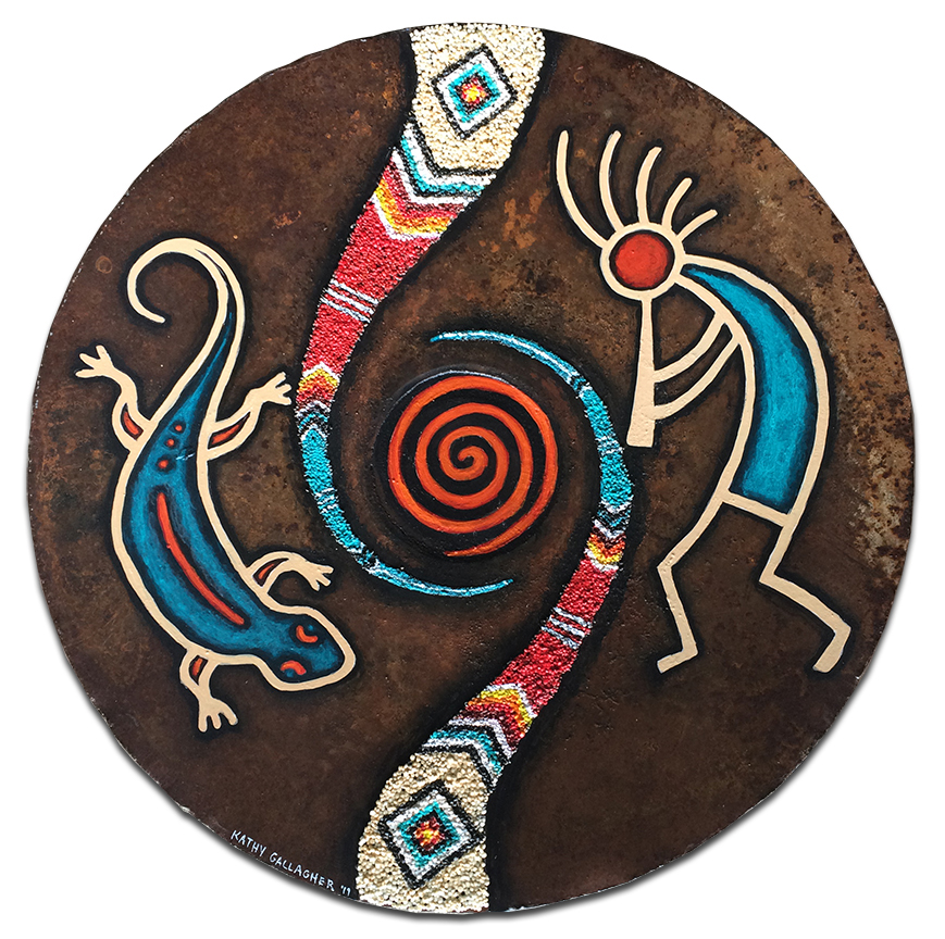 """15.75"""" textured rusty plow disk with southwest kokopelli and lizard"""
