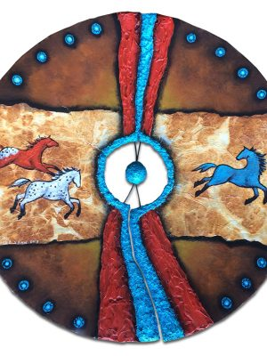 """17"""" Rusty cracked plow disk with rust dyed paper, texture and acrylic painting of horses"""