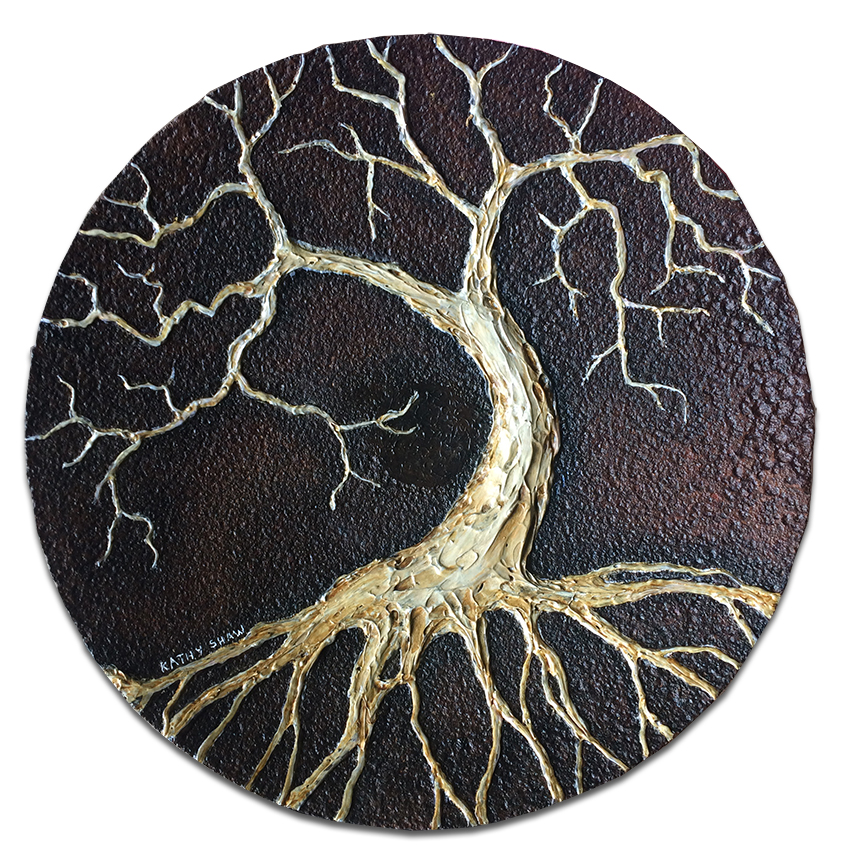 """12"""" Rusted plow disk with tree of life"""