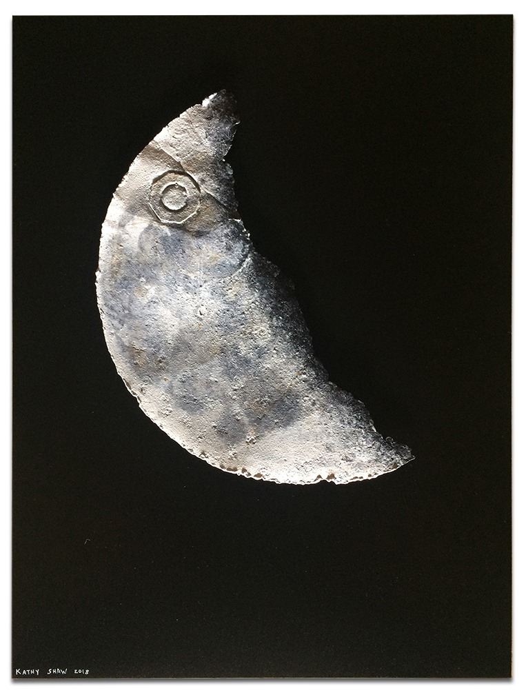 """Rusted metal lid for the moon on solid black - 24"""" x 36"""" x 2"""""""