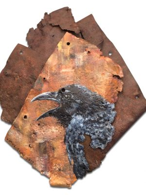 Raven on folded up piece of metal