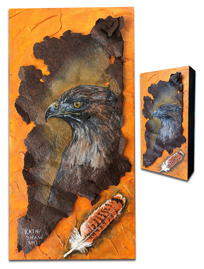 """Redtail hawk and feather on rusted metal - 12"""" x 6"""" x 2"""""""
