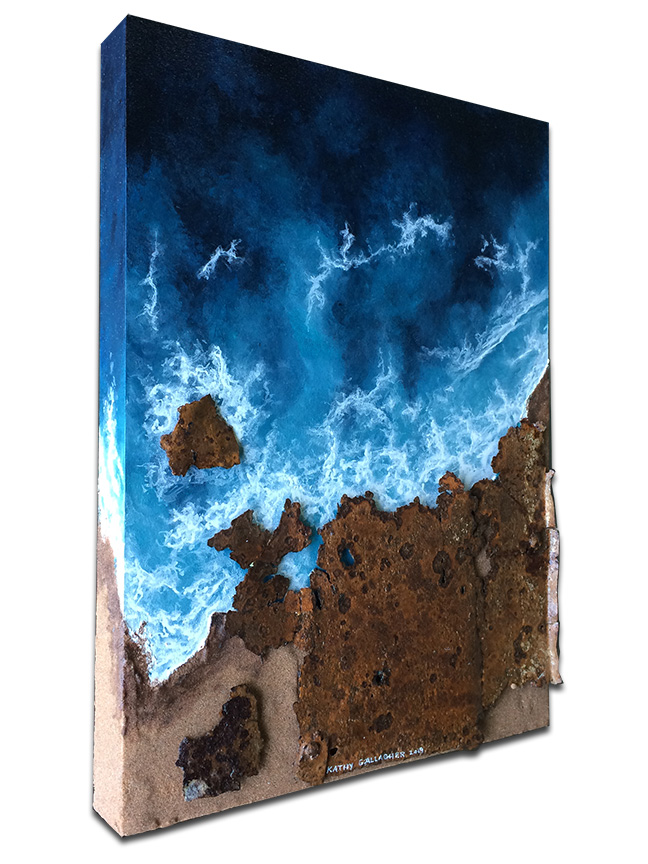 """""""Rocky Coast"""" Rusted metal as rocks and sand with aerial view of ocean waves - 12"""" x 16"""" x 1.75"""""""