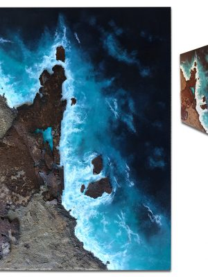 """""""Peninsula"""" Aerial ocean view with rusted metal and sand - 18"""" x 24"""" x 2"""""""