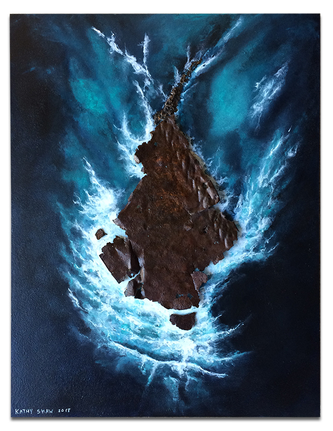 """""""Rocky Waters"""" Aerial ocean view of island with rusted metal - 14"""" x 18""""  x 1"""""""
