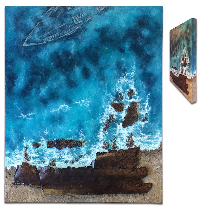 """Sunken"" Aerial ocean view with rusted metal beach scene - 24"" x 30"" x 2"""