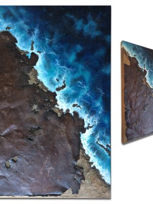 """""""Coastal Retreat"""" Aerial ocean view with rusted metal and sand - 24"""" x 36"""" x 2"""""""
