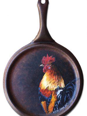 Vintage skillet with rooster