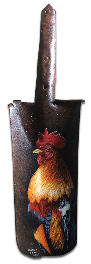 Rooster on rusty spade