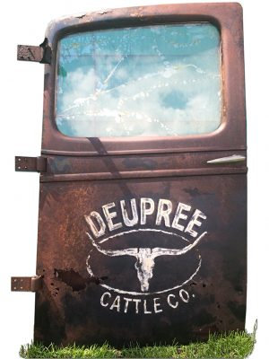 Old rusted door with vintage logo painted on it