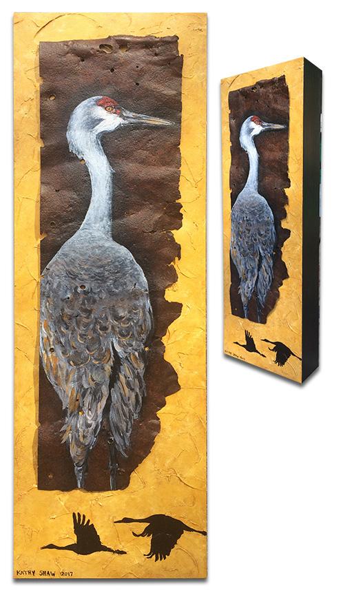 "Sandhill crane on rusted metal - 6"" x 18"" x 2"""