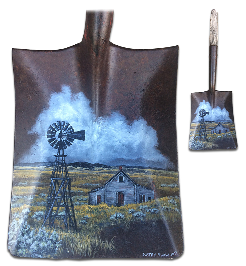 Old rusted shovel with windmill abandoned house scene