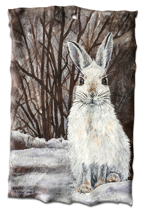 Rusted metal with winter hare