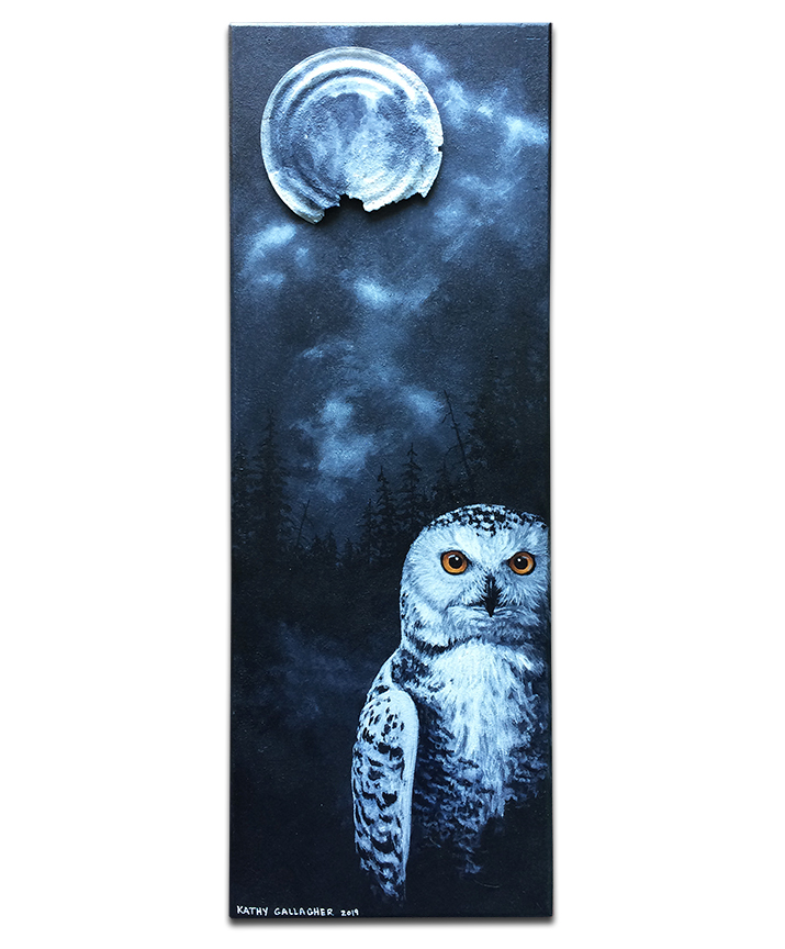 """Snowy owl at night with rusted can for moon - 7"""" x 19"""" board"""