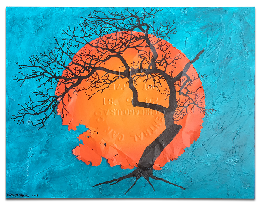 """Rusted lid as sun on textured board with tree - 14"""" x 18"""" x 1"""""""