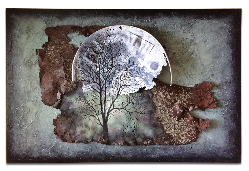 "Crushed metal bucket with moon and tree scene 24"" x 36"" x 2"""