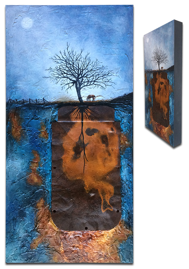 """""""Solitude"""" Rusted metal, rust dyed paper and texture with lone tree and horse - 12"""" x 24"""" x 2"""""""