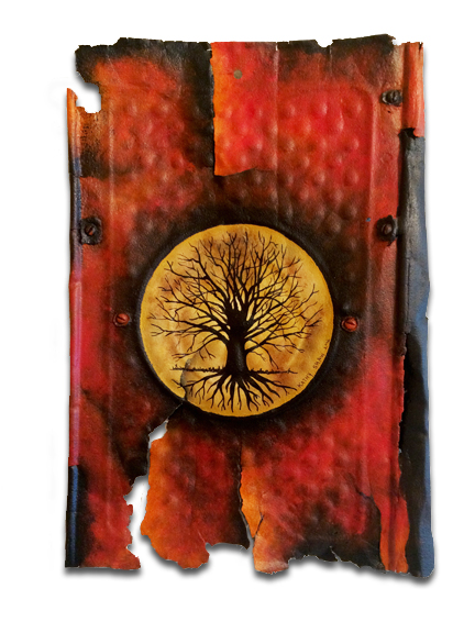Old rusted metal with tree of life