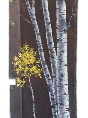 Rusted metal with aspens