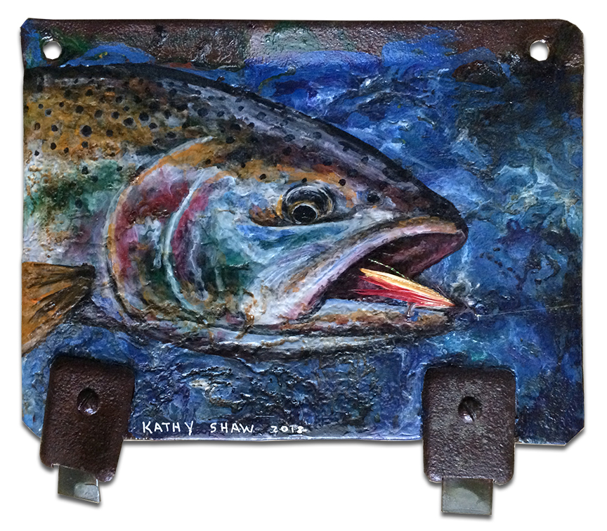 Rusted metal with trout and lure