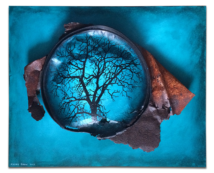 """Crushed metal bucket painted turquoise mounted on board 16"""" x 20"""" x 1.5"""""""