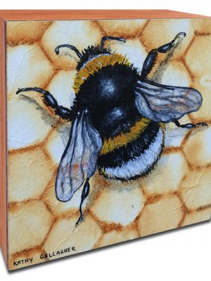 """""""Wanna-bee"""" bumble bee painting on 5"""" x 5"""" x 2"""" board with rust dyed chicken wire background"""