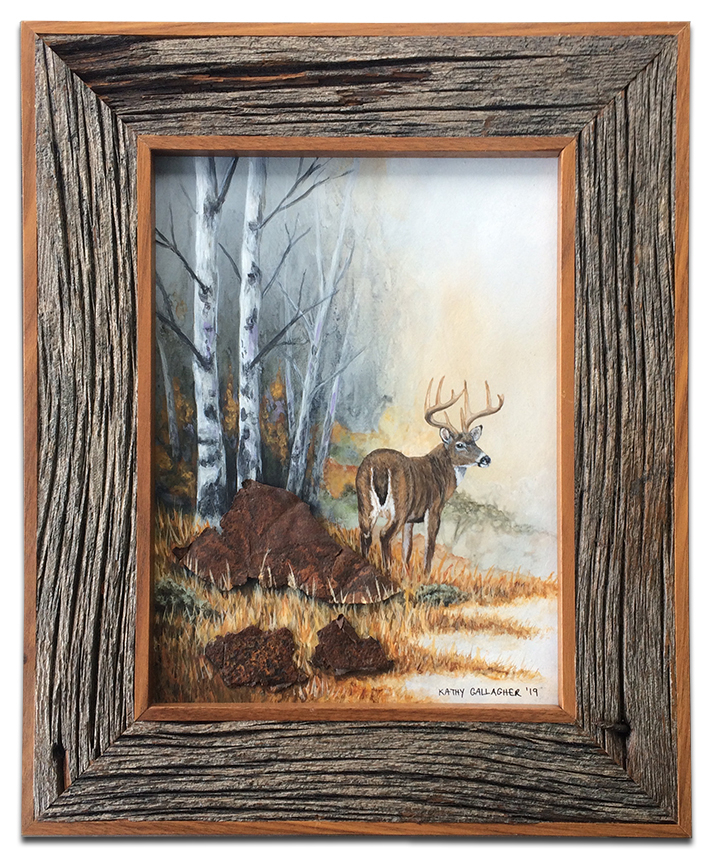 """Whitetail deer with rusted metal rocks framed 11"""" x 7"""""""