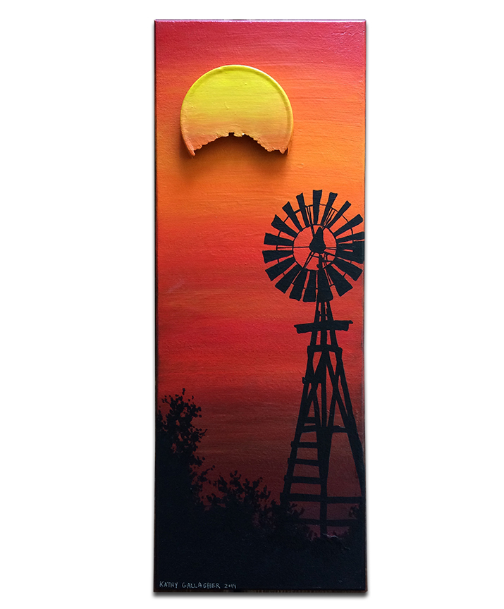"""Old windmill in sunset with metal lid for sun - 7"""" x 19"""""""