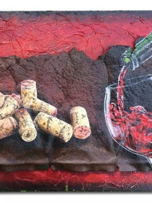 """Rusted metal on textured board with wine corks and wine scene 16"""" x 8"""" x 2"""""""