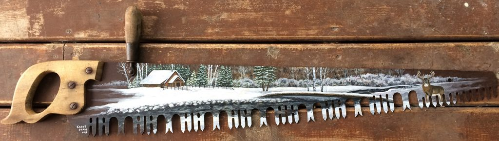 Old saw blade with custom painted winter scene