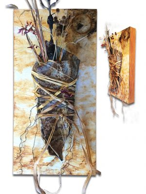 """Rusted metal and nature on rust dyed paper - 10"""" x 20"""" x 2"""""""