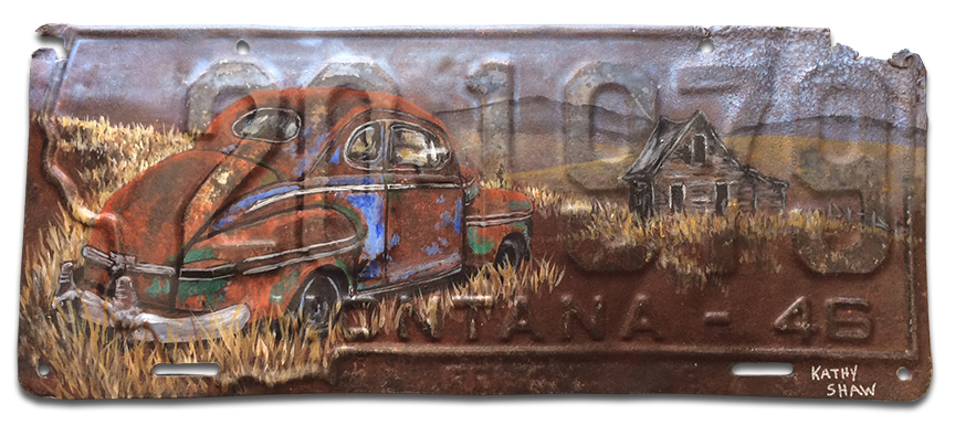 1946 Montana License Plate with Abandoned Car