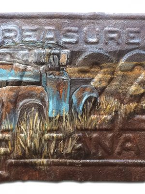 1955 Montana License Plate with Abandoned Truck Scene