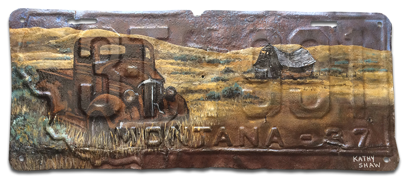 1937 Montana License Plate with Abandoned Truck Scene