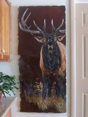 """Bull elk on 24"""" x 54"""" rusted metal"""