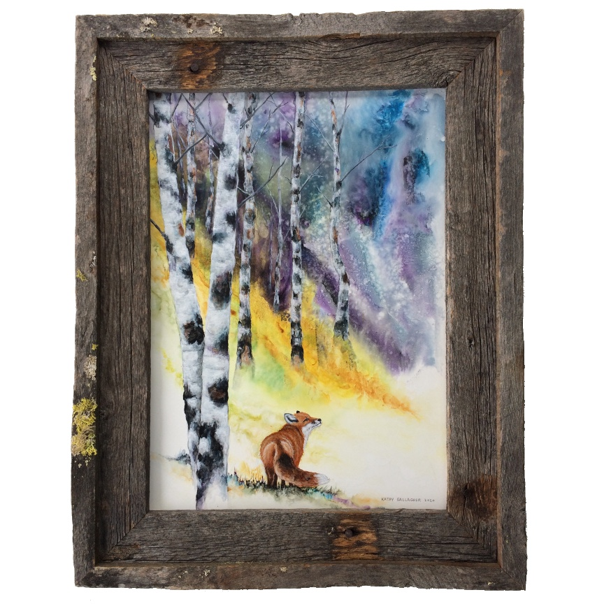 """Watercolor and acrylic mystic sky with aspens and fox in barn wood frame 13"""" x 18"""""""
