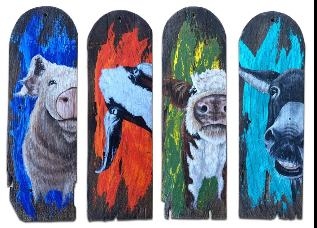 Old shingles with farm animals