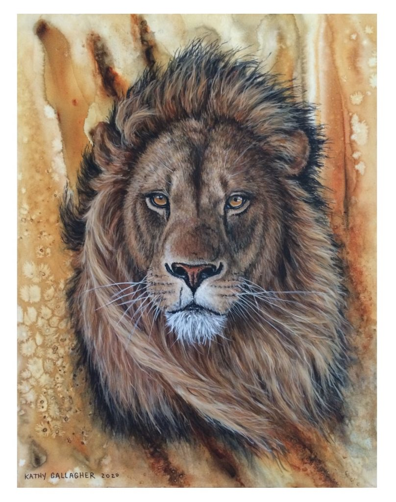 """Lion in acrylic on textured/watercolor background - 9"""" x 12"""""""
