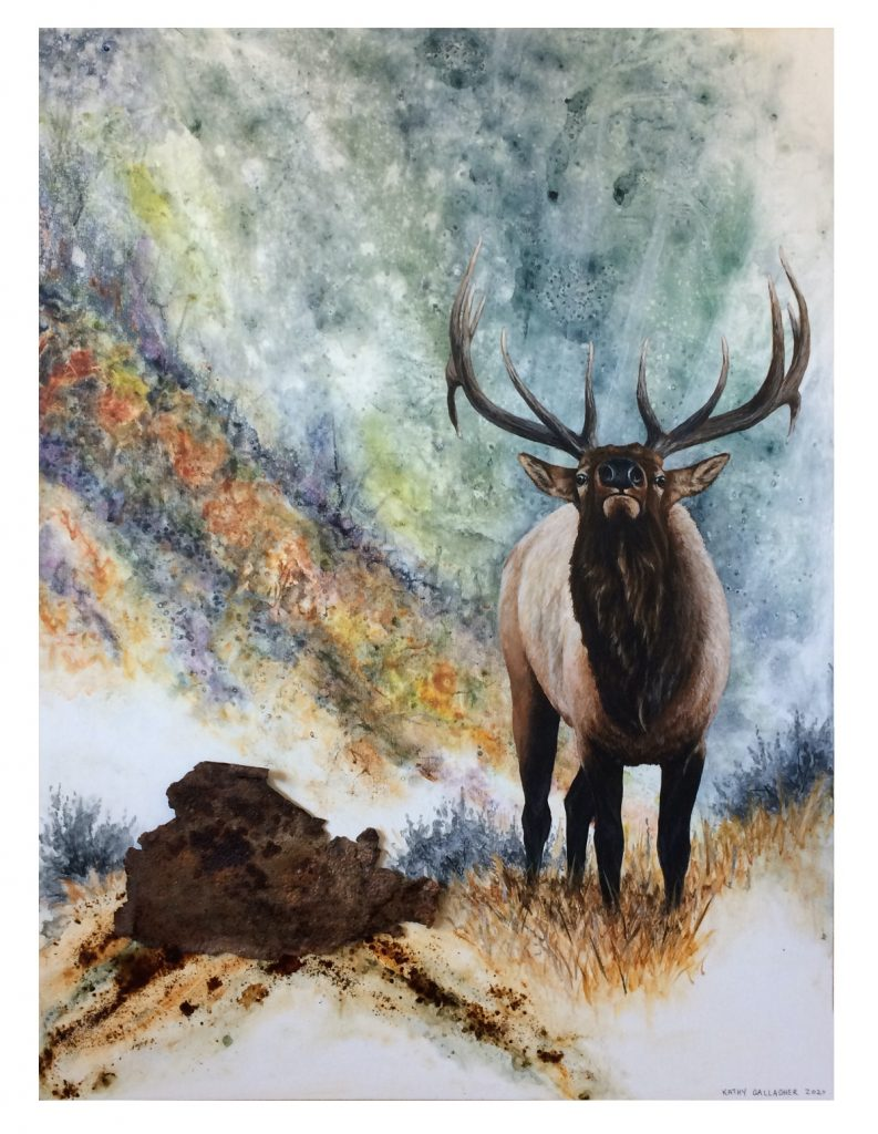 """Bull Elk with Watercolor Look  Background with Rusted Metal as Rock - 16"""" x 20"""" x 1.75"""" deep"""