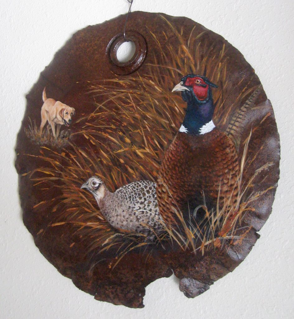 """Pheasants and Yellow Lab on 22"""" Rusted Barrel Lid"""