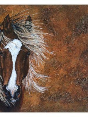 "Wild Mustang on 16"" x 20"" x 1.75"" deep board, textured"